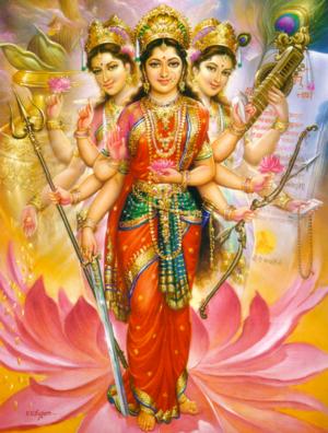 Tridevi cojoined forms of Durga, Lakshmi and Saraswati from Wikipedia
