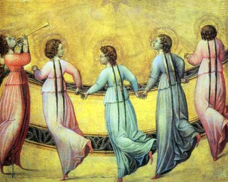 angels dancing in front of the sun 15th century italian