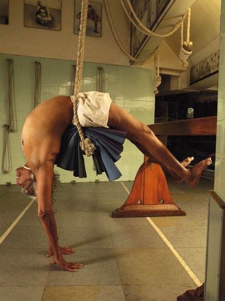 BKS Iyengar using props. At 95, he practices yoga daily.