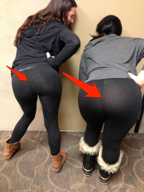 women demonstrating see through yoga pants