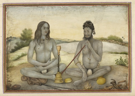 Fig. 11 Aughar and Kanphata Yogi, from Tashrih al-aqvam, p. 399. India, Hissar, Hansi Cantonment, 1825. Manuscript, watercolor; 31.5 x 22 cm (folio). The British Library Board, Add.27255, f.399b